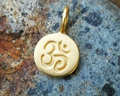Gold Om Charm Small - Tiny Om Necklace