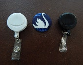 Fabric Covered Button for Clip on Retractable Badge Reel - Swan