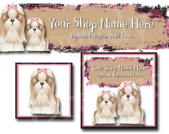 Premade Etsy Cover Photo - Large Etsy Banner - Premade Etsy Shop Banner - SHOP ICON - Shop Profile - Cute Puppy Dogs - Maltese - Pets
