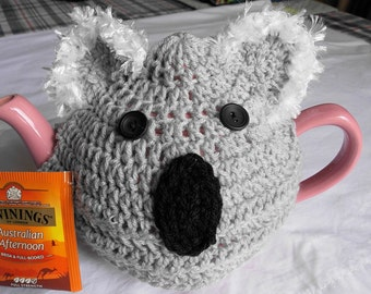 teapot  tea cozy cosy cover grey koala, Australian Aussie gift with fuzzy ears, crocheted