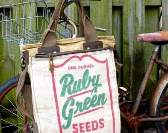 Ruby Green Seeds - Americana Vintage Seed Feed Sack Book Tote W- OOAK Canvas & Leather Tote... Selina Vaugha