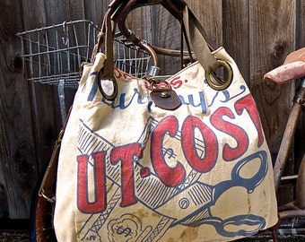 Murphy's Cut-Cost Seeds - Wisconsin - Open Tote - Americana OOAK Canvas & Leather Tote W- vtg fabric... Selina Vaughan Studios
