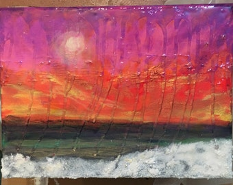 Pink Painted Sky Maxine Orange abstract surrealist landscape 9x12 acrylic with resin on canvas