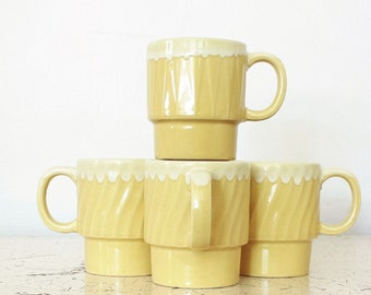 Vintage Yellow and Cream Ceramic Coffee Cup Set of Four, Vintage Stacking Cups, Stacking Coffee Cups, Vintage Tea Time