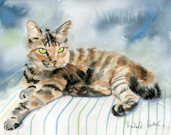 Original Tabby cat Art watercolor Painting for Christmas Cat  Lover Unique Gift Handmade 8x10 tiger stripes brown black