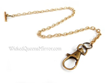 Pocket Watch Chain, Gold Finish, Victorian Accessories, Edwardian, Steampunk, Groomsmen Gifts, Groom Present,  Anniversary Gifts For Men