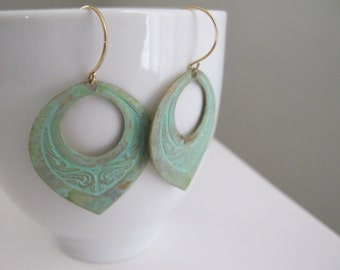 Verdigris Teardrop Earrings, Embossed Brass Hoops, Vintage Brass Dangles