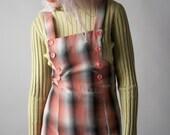 beverly lee plaid jumper dress / overall dress / maxi dress / s / 1645d