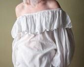 days of heaven white cotton ruffle blouse / off the shoulder blouse / poet blouse / m / 1365t