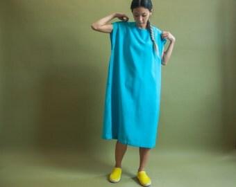 woven sack dress / turquoise colorblock dress / oversized midi dress / s / m / 1224d / B7