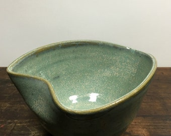 Ceramic Aqua Green Heart Shaped Bowl Stoneware Clay Pottery Ready to Ship