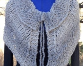 In The Shadows Outlander Inspired Hand Knitted Capelet Shawl Alpaca Wool Acrylic Gray Tan