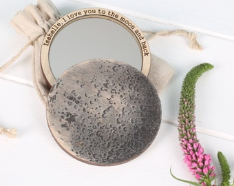 I Love You To The Moon And Back Compact Mirror - compact mirror - pocket mirror - girlfriend gift - wife gift- gift for girl - beauty mirror