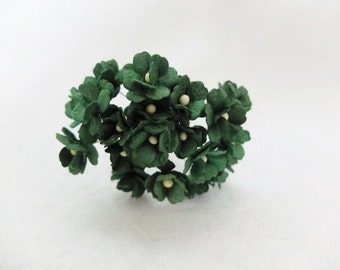 20 forest green mulberry paper hydrangea - mini paper flowers - 1.5cm paper flowers