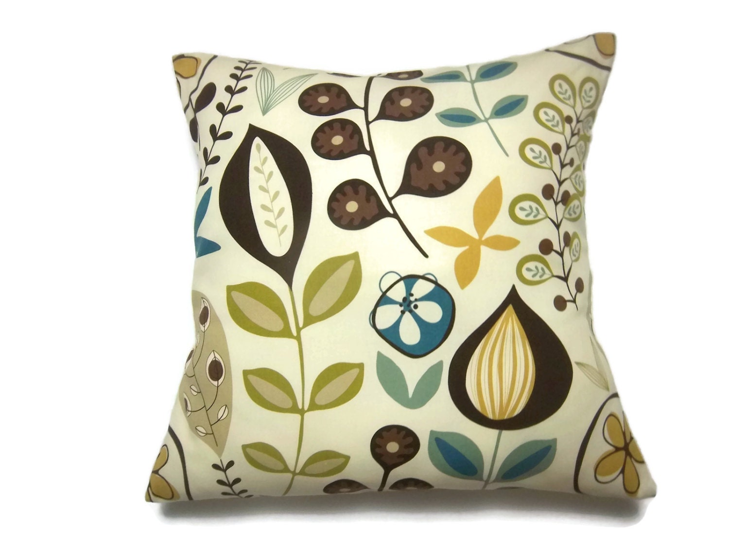 Decorative Throw Pillows Etsy : Decorative Pillow Cover Modern Floral Yellow Gold Brown Cream