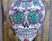 Custom Hand Painted Sugar Skull original art on hand built recycled wood board. Gold