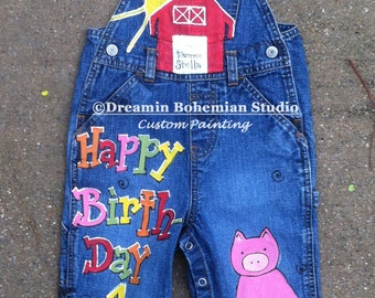 Custom Hand Painted Denim Overalls, Party Overalls, Custom Barnyard Party Barnyard Overalls, Custom Barnyard Overalls Farm Party, Dungarees