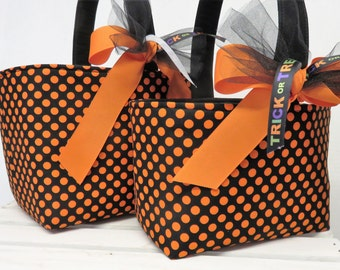 Halloween Trick or Treat Candy Bag Basket Bucket - Orange Spot Dots on Black Fabric - Choose the Size - Large or Small