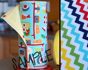Tree Saver Towels - Rainbow Chevron - Reusable, Eco-Friendly, Snapping Unpaper Towel Set - Cotton and Terry Cloth