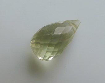 Diamond Faceted Prasiolite Drops, Green Amethyst Briolettes, Prasiolite Teardrop, Green Amethyst Teardrop, Prasiolite Briolette Bead, EACH