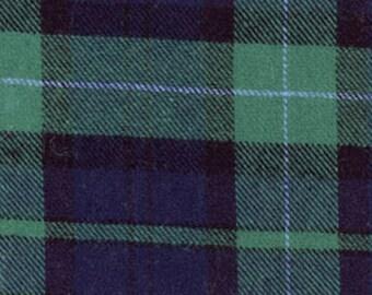 Black Watch Plaid Tartan Cotton Flannel Fabric - One Yard