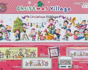 Christmas Village - G68- Counted Cross Stitch Original Design Pattern Chart