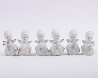 Adorable Collection of Vintage White Ceramic Cherubs Angels