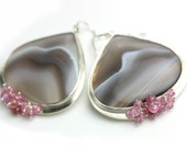 Botswana Agate Statement Earrings with Pink Sapphires