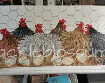 "11"" x 22"" #404 Folk Art Chicken Hens Original Art on Wood The Sitters"