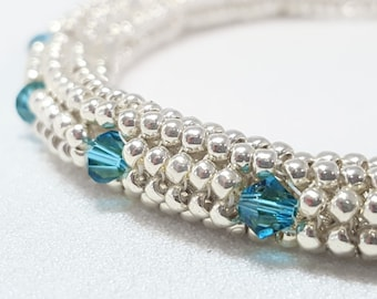Beadwoven Soft Bangle Silver and Swarovski Indicolite