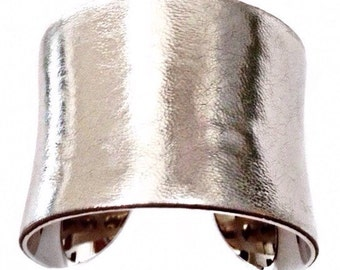 Silver Metallic Leather Cuff Bracelet  - by UNEARTHED