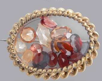 SUMMER CLEARANCE Antique Victorian Glass Brooch Filled with Floating Gemstones - Rare Garnet, Topaz, and Citrine