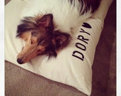 Dog Bed Duvet COVER by Bow Wow Beds, Pet Duvets, Durable Duck Canvas, Pet Name Personalization Extra
