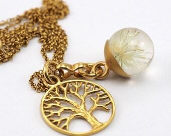 Mini Dandelion Necklace, Gold Plated Silver Pendant, Resin Jewellery