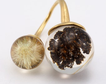 Dandelion and Cone Ring, Gold Plated Silver Ring, Resin Jewellery
