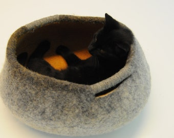 Pet / Dog / Cat Bed / Cave / House / Vessel - Hand Felted Wool - Tan - Crisp Contemporary Design