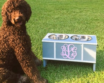 Personalized Dog Feeder Dog Feeding Stand, Elevated Dog Feeder, Monogram Feeder, Custom