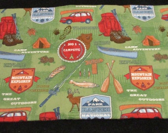 Travel pillow pillow case cover, witha  camping theme.  fits Mypillow travel pillow.