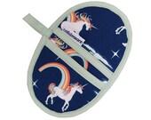 Navy Unicorn Mini Oven Mitt