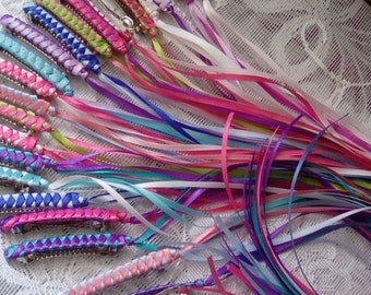 Braided Ribbon Barrettes Fun Party Pack of 20 in YOUR CHOICE of Assorted Colors