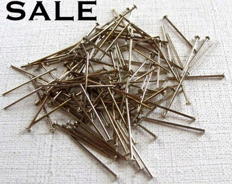 LOW Stock - Rhodium Plated Headpins - 19mm - 20 gauge - (40 grams - approximately 400x) (F530) S A L E - 50% off
