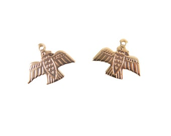 Rose Gold Plated Native American Eagle Charms (6X) (M521-D)