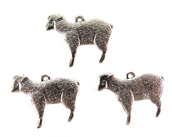 Rhodium Plated Lamb Sheep Charms (left facing) (4X) (M535-B)