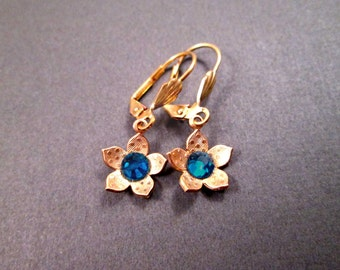 Gold Flower Earrings, Blue Crystal Rhinestones, Small Dangle Earrings, FREE Shipping U.S.