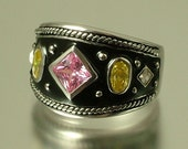 Vintage/ estate modernist/ blackened sterling silver 925 and pink / yellow cz ring - jewelry jewellery - ring size P