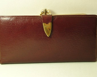 Vintage/ estate 1960s/ 70s brown real leather, made in England, coin purse wallet, note holder, old lady purse