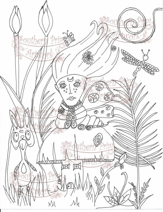 adult alice in wonderland coloring pages - fantasy caterpillar alice in wonderland adult coloring page