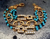Vintage Rhinestone, Turquoise Bead and Brass One of a Kind Bracelet... Scandal One
