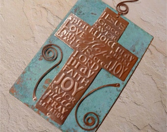 Hand Forged Rustic Copper Cross Wall Hanging Price Reduction