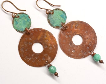 Rustic Copper Earrings with Gemstones E750